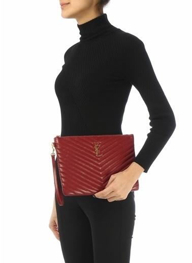 Saint Laurent Saint Laurent Monogram  Kadın Deri El Portföyü 101621912 Kırmızı